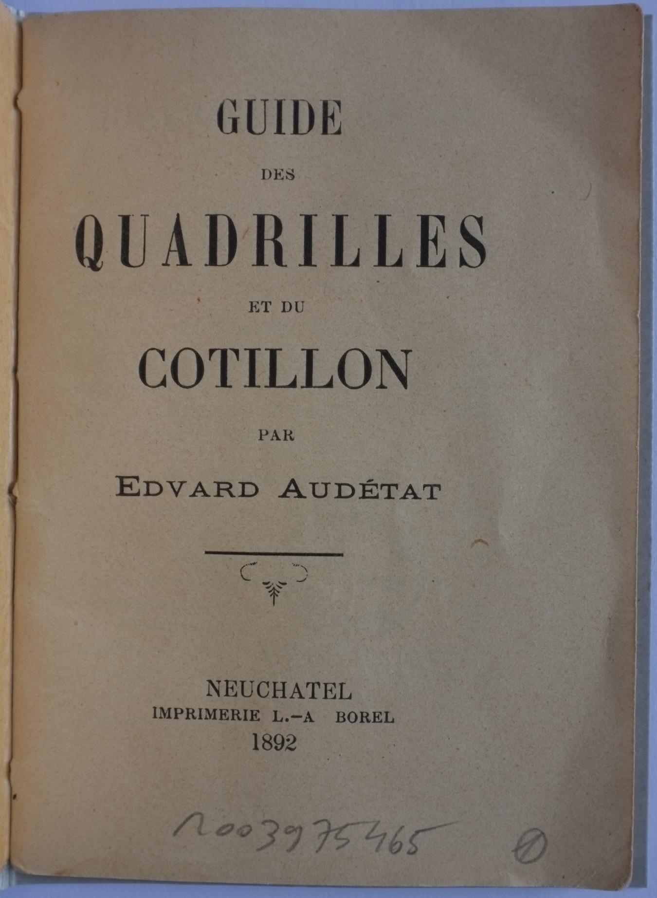 Guide des quadrilles et du cotillon 1